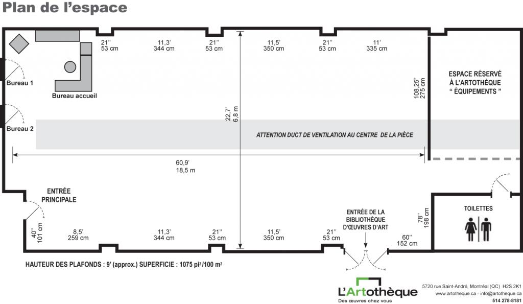Plan de la salle de L'Artothèque